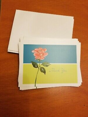Blank Thank You Cards with Envelopes Blue Green Red Rose (12)