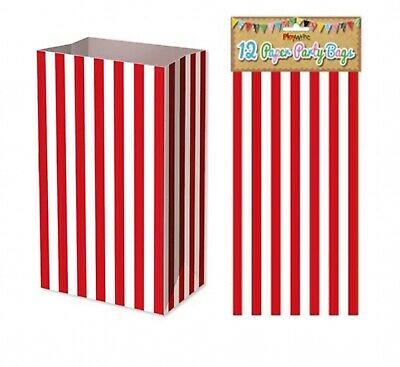 Candy Red Stripe 12 pack paper Bag Party Lunch Snack Popcorn Sweets Food 25cm