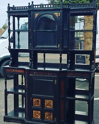 Aesthetic Movement Ebonised & Painted Cabinet. Possibly Thomas Edward Collcutt.