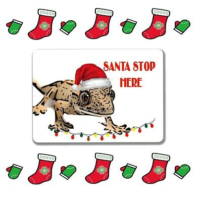 Crested gecko sign christmas santa stop here mini or large metal aluminium