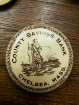 Antique Advertising Chelsea Mass Savings Bank Pocket Hand Celluloid. 1930's