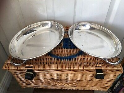 Vintage Oval Silver Plated Heavy Duty Serving Dishes