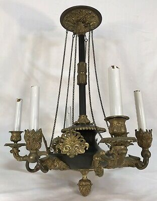 Antique French Bronze Brass Empire Style 6 Arm Lights Chandelier Imperial Eagles