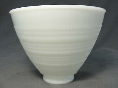 """Vintage Art Deco Milk Glass Waffle Torchiere Lamp Shade Diffuser 6""""W X 4 3/4""""H"""