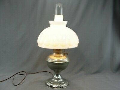 Antique Nickel Plate Student Oil Table Lamp Milk Glass Shade Electrified Working