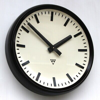 HUGE 48cm CZECH 1970s Midcentury Vintage Retro Industrial Factory Wall Clock