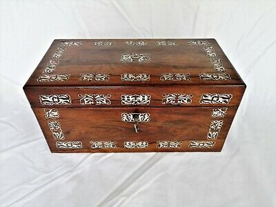 Antique Victorian Rosewood Mother Of Pearl Inlay Personalised Tea Caddy