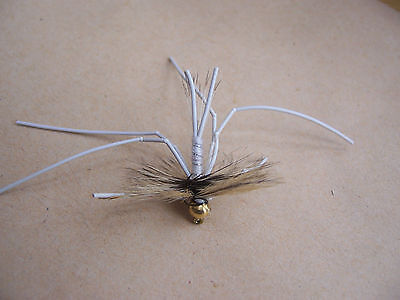 Salmoflies 3 Goldhead Vibrating WHITE daddies WHITE LEGS legs size 12