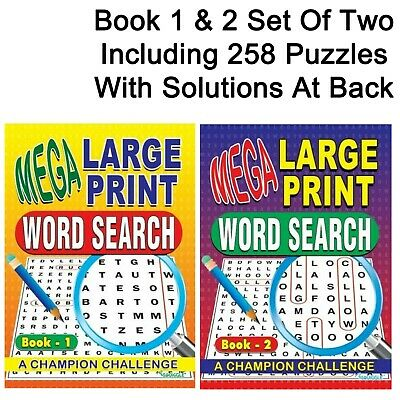 Book 1 & 2 size A4 Mega Large Print Word Search Books 258 entertaining puzzles