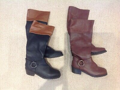 Two pairs of Dolcis boots knee high small heel size 3 black brown country riding