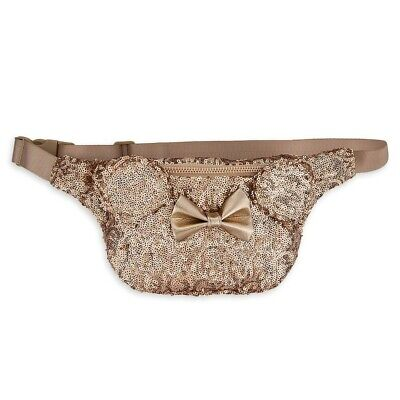 Disney Loungefly Minnie Mouse Bow Rose Gold Sequin Fanny Pack - New