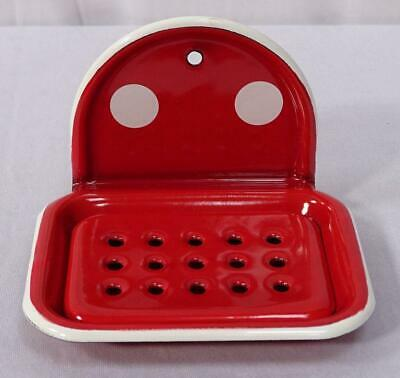 G1602: Nostalgia Soap Dish to Hang up 2 Pieces, Enamel Dots Red White