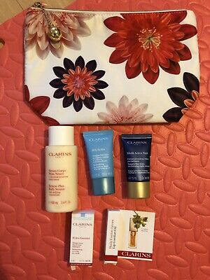 Brand New Clarins Sample & Travel Size Gift Set + Cosmetics Bag *big Size