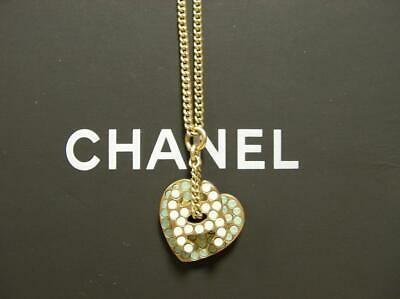 Authentic CHANEL NECKLACE White & Light Blue Rhinestone Heart & CC Logo Gold