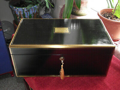 Large Brass edged ebony writing slope with working braman lock