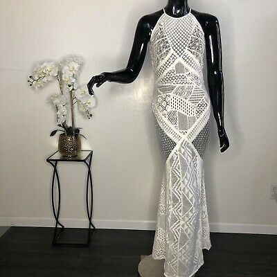 women's cream White crochet French Connection Maxi dress size 4