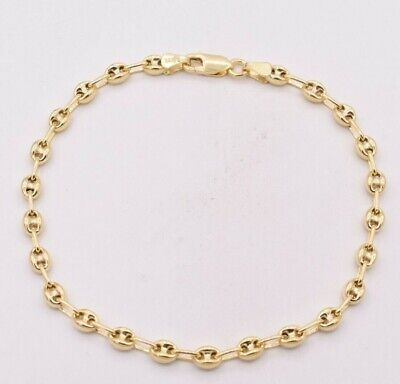 4.5mm Puffed Gucci Anchor Mariner Ankle Bracelet 14K Yellow Gold Clad Silver 925