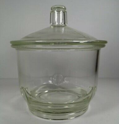 Large Pyrex Heavy Duty Glass Dessicator Apothecary Lab Storage Jar with Lid