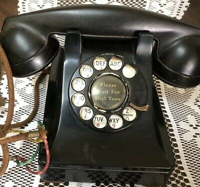 Vintage Bell System Made By Western Electric F1 Black Rotary Phone Telephone