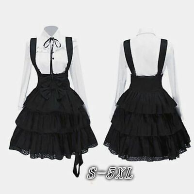 Women Fashion Lolita Gothic Vintage Bow Long Sleeve Princess Party Fancy Dress