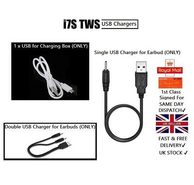 USB Chargers for Mini Wireless Bluetooth Earphones i7s TWS Charging Cable Box UK