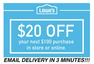 THREE 3x Lowes $20 OFF $100 Coupons Discount - In store/online -  FASTEST SHIP!