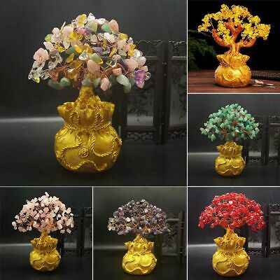 Natural Pretty Money Wealth Tree Feng Shui Lucky Rich Tree Crystal Gem Tree Bag