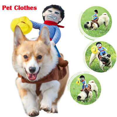 Pet Dog Funny Riding Horse Cowboy Harness Vest Halloween Party Costumes Clothes