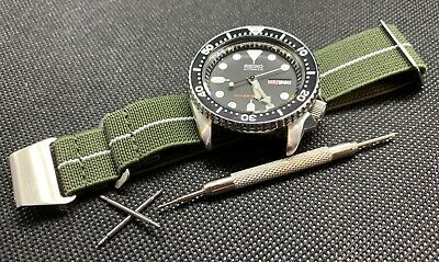 NEW MARINE NATIONALE NATO Watch STRAP GREEN WHITE 20mm + SPRING BAR TOOL/PINS