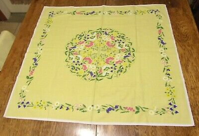 "Vintage  Square  Floral Tablecloth Bright Colors Yellow  Flowers 35"" x 32"""