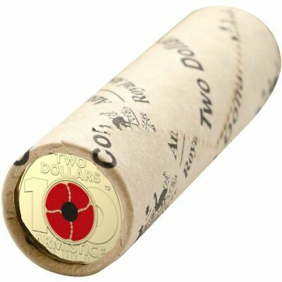 2018 $2 Remembrance Day Armistice Poppy Mint Roll 25 Coins 2.00