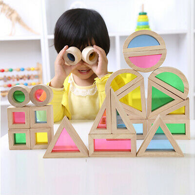 Wooden Blocks Rainbow Stacker Construction Building Toys Set for Preschool Baby