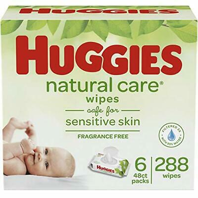 HUGGIES Natural Care Unscented Baby Wipes, Sensitive, 6 (NEW 6 Flip-Top Packs)