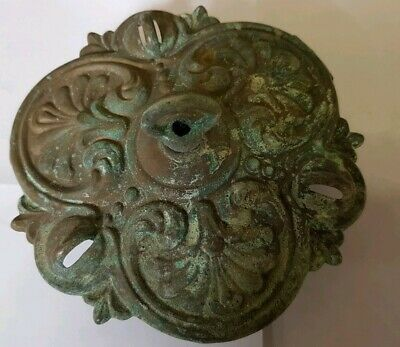 LARGER 135mm CEILING ROSE chandelier 3 hook FRENCH cast brass ANTIQUE old c1920