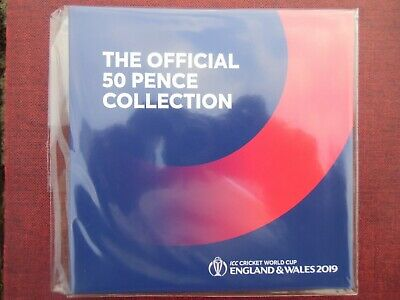 OFFICIAL : 2019 ICC Cricket World Cup Limited Edition BU 50p Coin Set : Sealed
