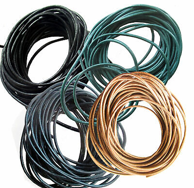 2mm Round Leather Jewellery Cord Pearl Coloured 10m length