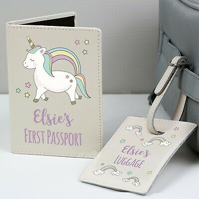 Personalised Passport Cover & Luggage Tag Leather Set Travel Unicorn Holiday