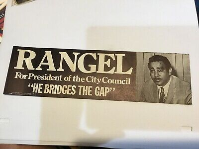 Vintage Charles Rangel For President Of City Council Bumper Sticker, With Photo