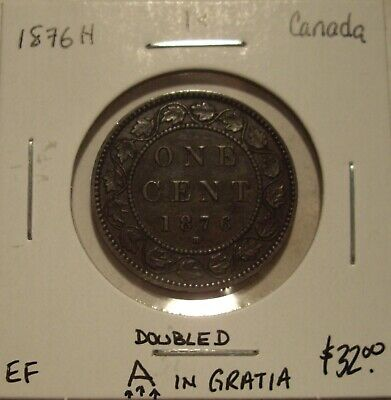 Canada Victoria 1876H Doubled A Large Cent - EF