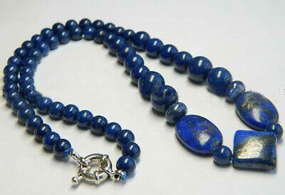 Beautiful Egyptian Natural Dark Blue Lapis Lazuli Gemstone Beads Necklace 18""