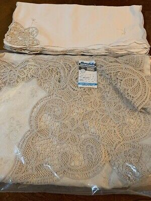 """Vintage Hand Made Lace 100% Cotton Tablecloth 12 Napkins 68"""" x 104"""" Ecru New!"""