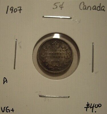 A Canada Edward VII 1907 Silver Five Cents - VG+