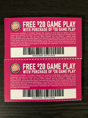 50 Dave and Busters D&B $20 gameplay with same purchase powercard EXP 2/29/2020