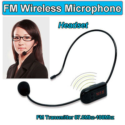 FM Wireless Microphone Headset Audio Amplifier Transmitter fr Teacher Tour Guide