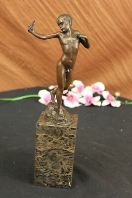 Milo Nude Boy Sling Shot Bronze Sculpture Original Handcrafted Figure Statue Art