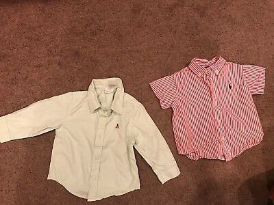 Baby Gap Boys Dress Shirts Mint Green/Ralph Lauren Red Stripe Shirt 12-18 mos.