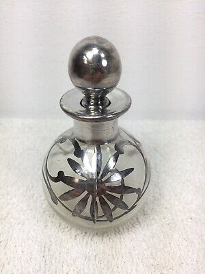 """Art Works United Montreal Sterling Silver Marked Perfume Bottle 3.3"""" tall flower"""