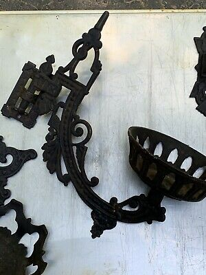 3 Vintage Vicorian Style Cast Iron Oil Lamp/Candle Wall Sconces Ornate W/ Hinges