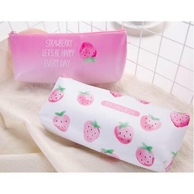 Creative Strawberry Pattern Pencil Case Kawaii Stationery Pouch Pen Bag W