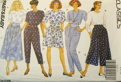 Vintage UNCUT Butterick Pattern 5331 - Misses Petite Top, Skirt, Split Skirt Pan